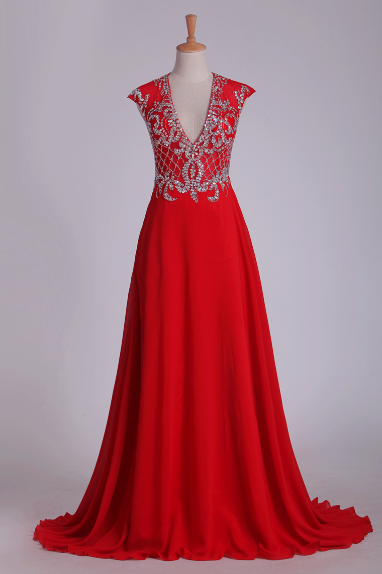 2019 Prom Dress V Neck Open Back Chiffon With Beading Sweep Train