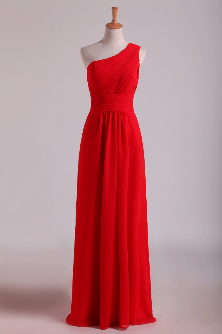 2019 One Shoulder Bridesmaid Dresses Ruffled Bodice A-Line Chiffon