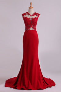 2019 Red Scoop Mermaid Prom Dresses With Applique