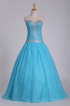 2019 Tulle Floor Length Sweetheart Beaded Bodice Prom Gown A Line