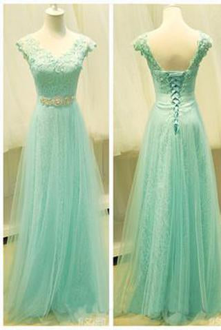 Mint Lace Cap Sleeve Sweetheart Lace up A-Line Tulle Green Floor-Length Prom Dresses RS57