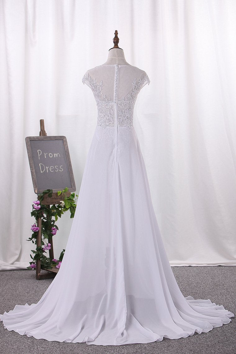 2019 Wedding Dresses Scoop Cap Sleeves Chiffon With Applique Slit