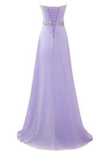 Load image into Gallery viewer, Long Chiffon Prom Dress 2019 Evening Gown Crystal Beaded RS224