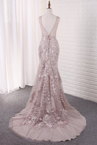 2019 Sexy Mermaid Scoop Tulle With Applique Court Train Open Back
