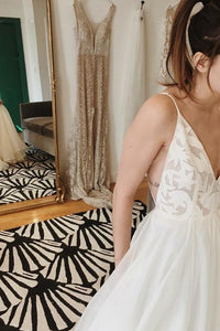 A-Line Spaghetti Straps V-Neck Floor Length Ivory Long Beach Wedding Dresses