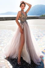 Load image into Gallery viewer, 2019 Straps Prom Dresses A Line Tulle With Beading And Slit New Arrival