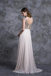 2019 Prom Dress Scoop A Line Floor Length Beaded Tulle Bodice With Chiffon Skirt