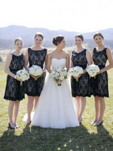 Load image into Gallery viewer, Simple Hot Scoop Open Back Lace Black Short Bridesmaid Dresses RS463
