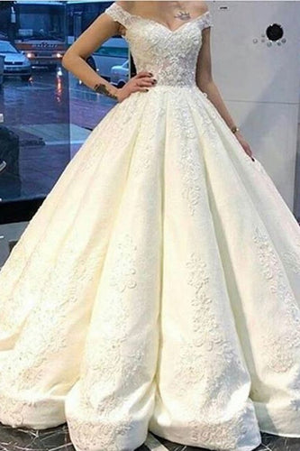 2019 Off The Shoulder A Line Satin Wedding Dresses With Beading Appliques