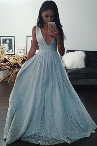 Sky Blue Sleeveless V-neck Long Prom Dresses Uk BD0405