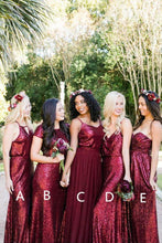 Load image into Gallery viewer, Sparkly Long Burgudny Sequin Shiny Wedding Party Dresses Bridesmaid Dresses