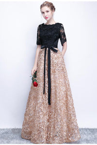 2019 Black Prom Dresses A-Line Half Sleeve Long Prom Dress Sexy Evening Dress