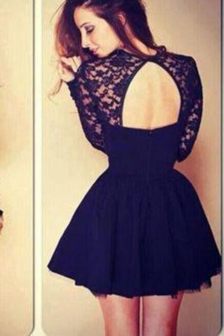 Sexy Ball Gown High Neck Long Sleeves Lace Backless Black Short Homecoming Dress RS994