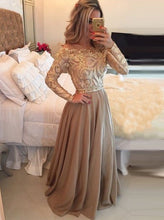 Load image into Gallery viewer, Hot Selling A-Line Cowl Floor Length Gold with Long Sleeves Prom Dresses RS710
