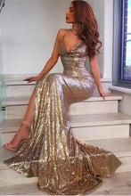 Load image into Gallery viewer, Sequin Shiny Long Sheath Spaghetti Straps Sexy V-Neck Prom Dresses