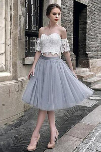 White Lace Tulle Two Pieces Off Shoulder Short Sleeve Short Prom Dress Homecoming Dress RS454