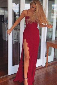 2019 A-Line Red Long Sheath Lace Spaghetti Straps Split Front Sweetheart Prom Dresses RS481