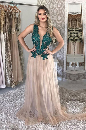 A Line Tulle V Neck Long Prom Dresses With Green Appliques