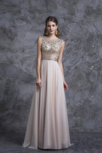 Load image into Gallery viewer, 2019 Prom Dress Scoop A Line Floor Length Beaded Tulle Bodice With Chiffon Skirt