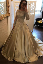 Load image into Gallery viewer, 2019 Off The Shoulder Long Sleeves Satin Ball Gown Prom Dresses With Applique Sweep Train