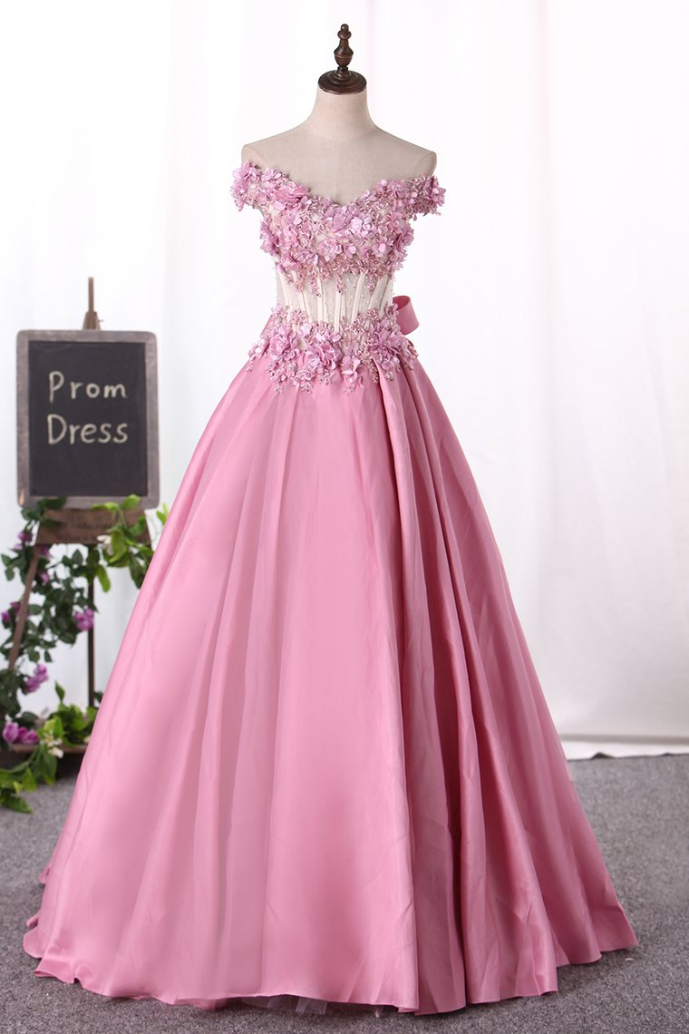 2019 New Arrival Prom Dresses Off The Shoulder Satin With Appliques And Handmade Flowers
