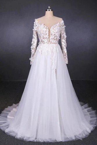 Long Sleeves White A-line Tulle Beach Wedding Dresses with Lace Appliques, Bridal Dress SRS15255