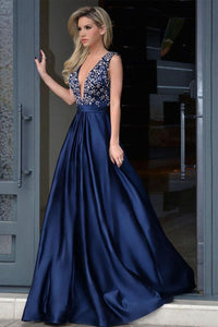 Formal Deep V-Neck Open Back Long Beading Satin Evening Dresses Prom Dresses