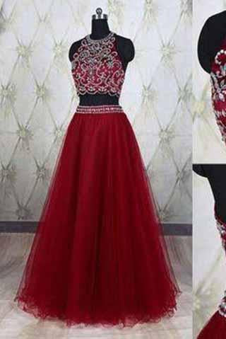 Two Piece Halter Burgundy Sleeveless Prom Dresses Sparkle Formal Dress For Teens RS937