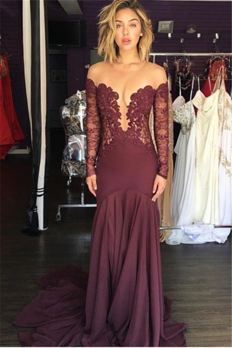 2019 Long Sleeves Scoop Spandex With Applique Mermaid Evening Dresses