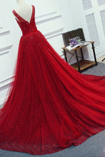 Load image into Gallery viewer, 2019 A Line Scoop Beaded Bodice Lace With Sash Sweep Train Prom Dresses