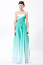 Load image into Gallery viewer, Simple Unique Ombre Green Spaghetti Straps Sweetheart A-Line Chiffon Prom Dresses RS362