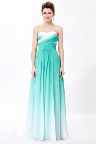 Simple Unique Ombre Green Spaghetti Straps Sweetheart A-Line Chiffon Prom Dresses RS362