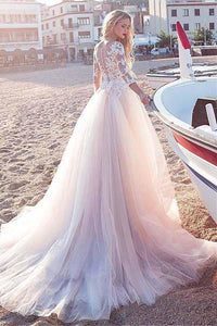 Tulle Scoop Neckline Pink A-line Lace Appliques Long Sleeves Bowknot Wedding Dresses RS311