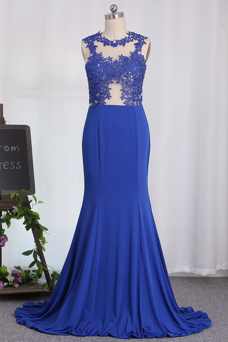 2019 Mermaid See-Through Scoop Prom Dresses With Applique Spandex