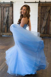 Light Blue Sweetheart Lace Tulle Open Back Flowy Prom Dresses