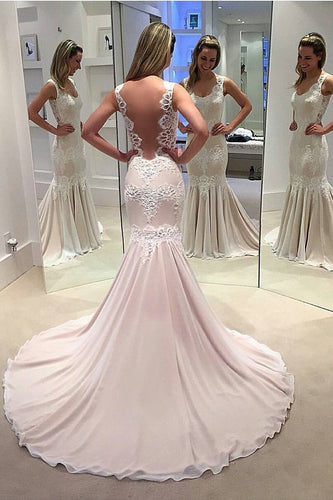 2019 New Arrival Wedding Dresses Mermaid Chiffon With Applique Court Train