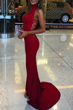 Load image into Gallery viewer, Mermaid High Neck Sleeveless Long Spandex Prom Dresses RS190