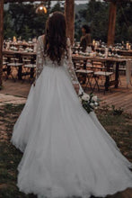 Load image into Gallery viewer, Elegant See Through Long Sleeve Wedding Dresses Lace Applique Bridal Dress