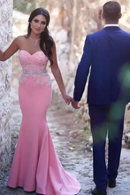 Load image into Gallery viewer, 2019 Prom Dresses Sweetheart Beaded Bodice Mermaid Satin Sweep Train