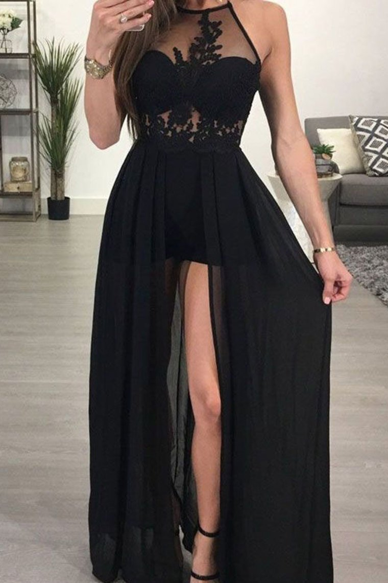Sexy Black Long Prom Dresses With Appliques Slit Dresses