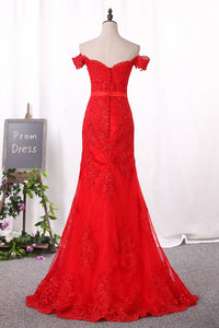 2019 Red Mermaid Prom Dresses Off The Shoulder Tulle With Applique Covered Button
