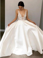 Load image into Gallery viewer, Simple A-Line Deep V Neck Satin Ivory Wedding Dress with Lace Appliques SRS15387