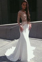 Load image into Gallery viewer, White Mermaid Long Sleeves Seen Through Long Prom Dresses RS0192