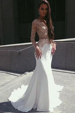 White Mermaid Long Sleeves Seen Through Long Prom Dresses RS0192
