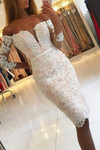 2019 Boat Neck Homecoming Dresses Lace With Applique And Beads Knee-Length