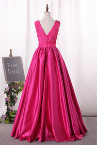 2019 V Neck Satin Prom Dresses With Ruffles Bodice A Line