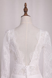 2019 V Neck Long Sleeves Lace Mermaid Wedding Dresses Open Back Sweep Train