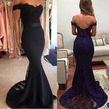 Load image into Gallery viewer, Mermaid Off-the-Shoulder Sweep Train Navy Blue Appliques Satin Prom Dresses RS404