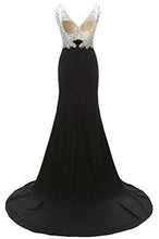 Load image into Gallery viewer, V-Neck Crystal Beaded Mermaid Black Long Prom Dress Slit Side RS229
