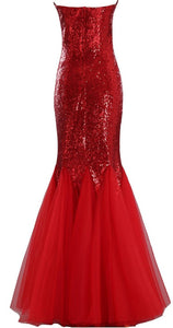 Largos Sparkly Mermaid Strapless Trumpet Fitted Tulle Sequin Long Prom Dresses RS139